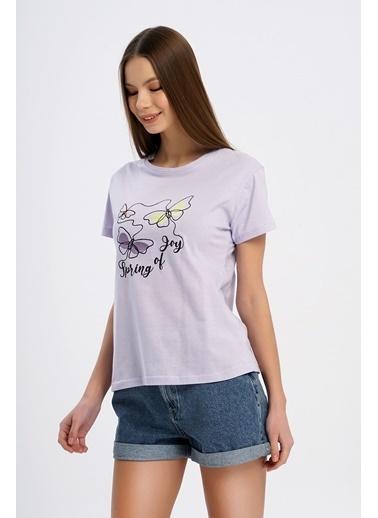 Nismia Kelebek Nakışlı Basic Tshirt Lila